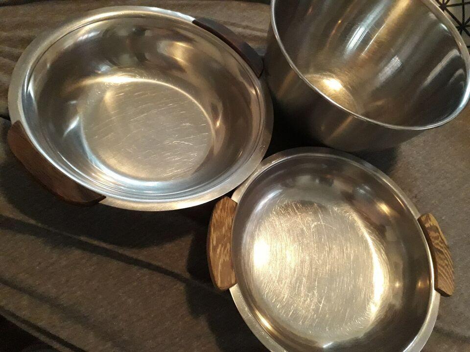 Rustfrit stål, Skåle + salt / pebersæt / sukker / fløde