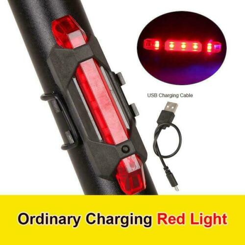 5 LED USB RECHARGEABLE BIKE TAIL LIGHT BICYCLE REAR LAMP SAFETY CYCLING WARNING
