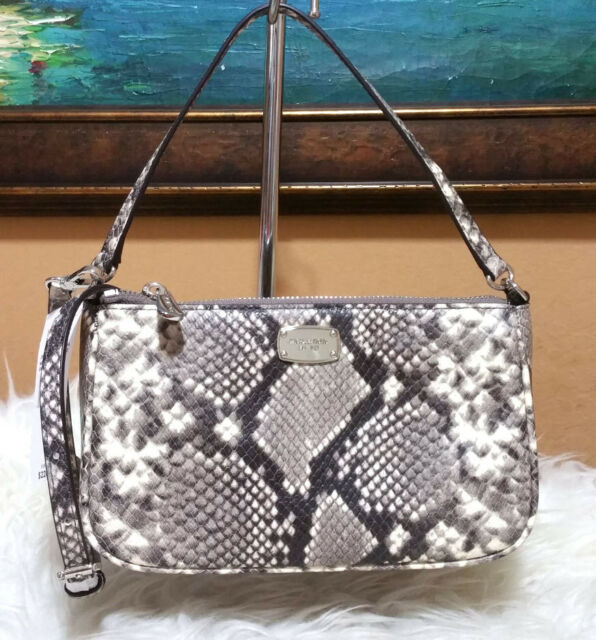 a92dde2f08e7 Michael Kors Vanilla PVC Sig Jet Set Medium Convertible Pouchette Crossbody
