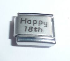 dcf74e4d8 HAPPY 18th Italian Charm Birthday Anniversary 9mm Classic Size Age 18 Years  Old