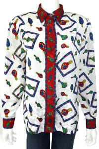 Doncaster-Womens-Silk-Blouse-Size-12-Career-Shirt-Top-White-Red-Green-Multicolor