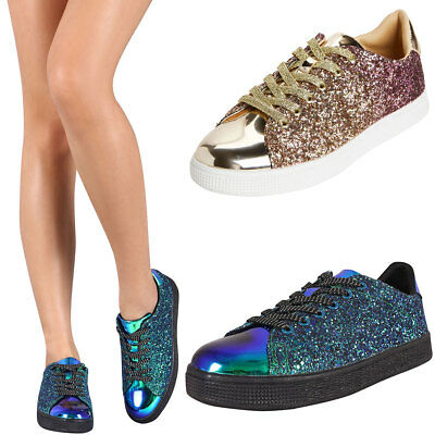 New Lace Up Encrusted Iridescent