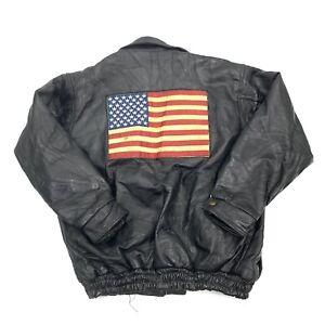 Vintage-Mens-Black-Patchwork-Leather-Jacket-Sewn-American-Flag-Patch-Sz-XL
