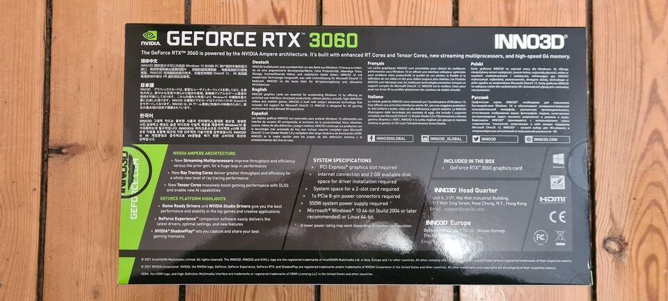 GeForxe RTX 3060 Twin x2 OC Inno3D, 12 GB RAM, Perfekt