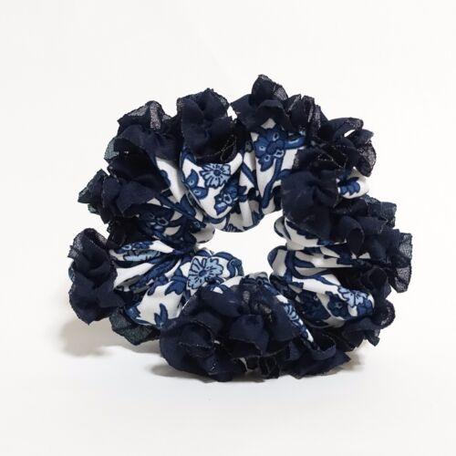 Floral Print Ruffle Wave Trim Women Hair Scrunchies