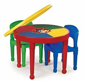 Image Is Loading Round Plastic Construction Table 2 Chairs Play Legos
