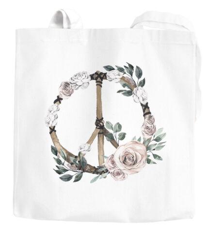 Jutebeutel Peace-Symbol Blumen Flowerpower Hippie Boho Bohemian Autiga®