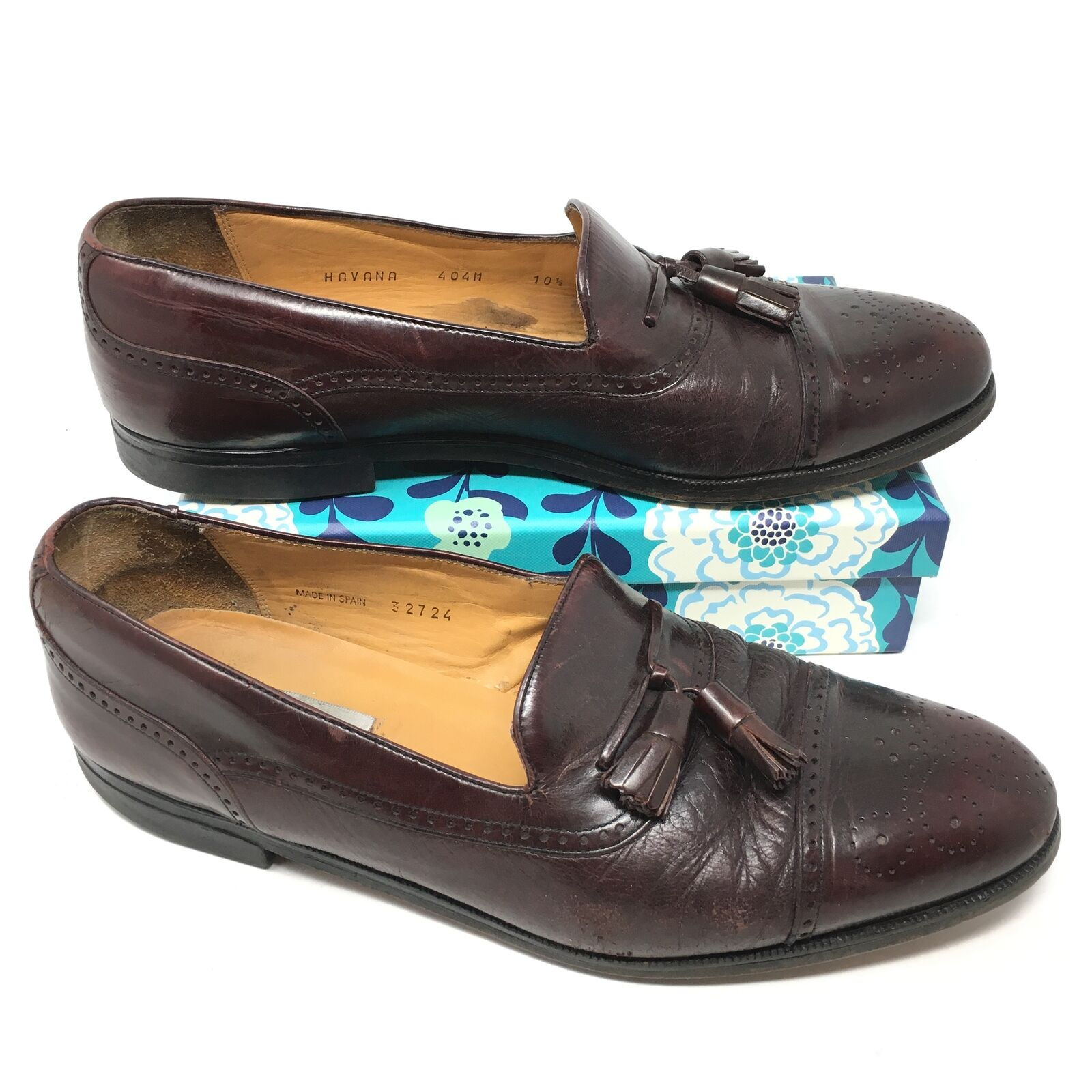 Men's Mezlan Size 10.5M Loafers shoes Burgundy Leather Tassels Brogue Cap Toe O13