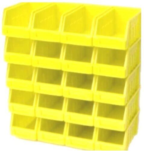 40 YELLOW SIZE 2 PLASTIC STACKING PARTS STORAGE PICK BINS GARAGE HOME WORKSHOP