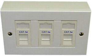 3-Voie-Triple-CAT5e-RJ45-donnees-outlet-faceplate-modules-Backbox-reseau-ethernet