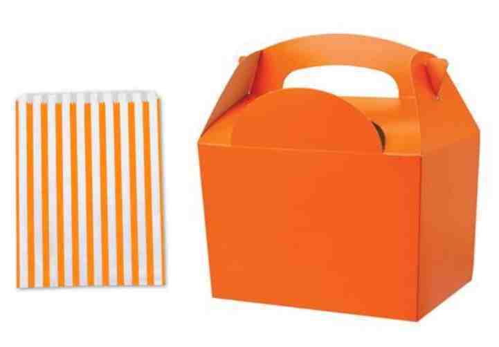 Orange - Birthday Party Food Meal Lunch boxes - With Candy Stripe Sweet Cake Bag