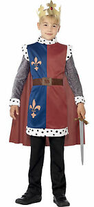 Boys-King-Arthur-Medieval-Knight-St-George-Camelot-Fancy-Dress-Costume-Outfit