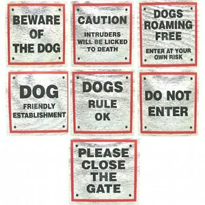 Dog-Signs-for-Dog-Owners-8cm-x-8cm-with-Red-Boarder-good-Selection