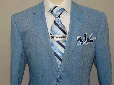 Men/'s Blazer Renoir Herringbone Patch Pockets Side Vents Linen Blend 608-20 Blue