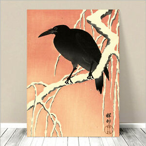 "Beautiful Japanese Art ~ CANVAS PRINT 32x24"" ~ Asian Crow Red Sky"