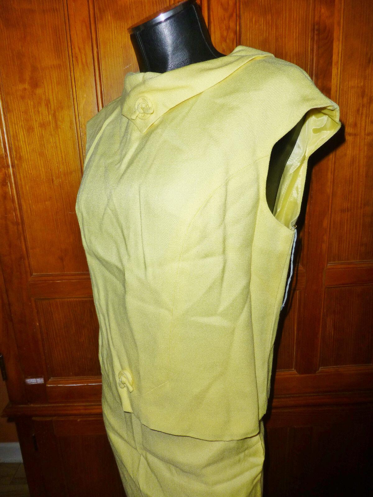 NOS Vtg 60s MOD pure Linen Yellow Yellow Yellow 2pc dress SKIRT Blouse Top SET 76a4a8