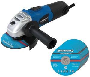 Silverline-650-W-electrique-meule-Meuleuse-D-039-Angle-4-5-034-115-mm-10-Gratuit-Disques-Coupe