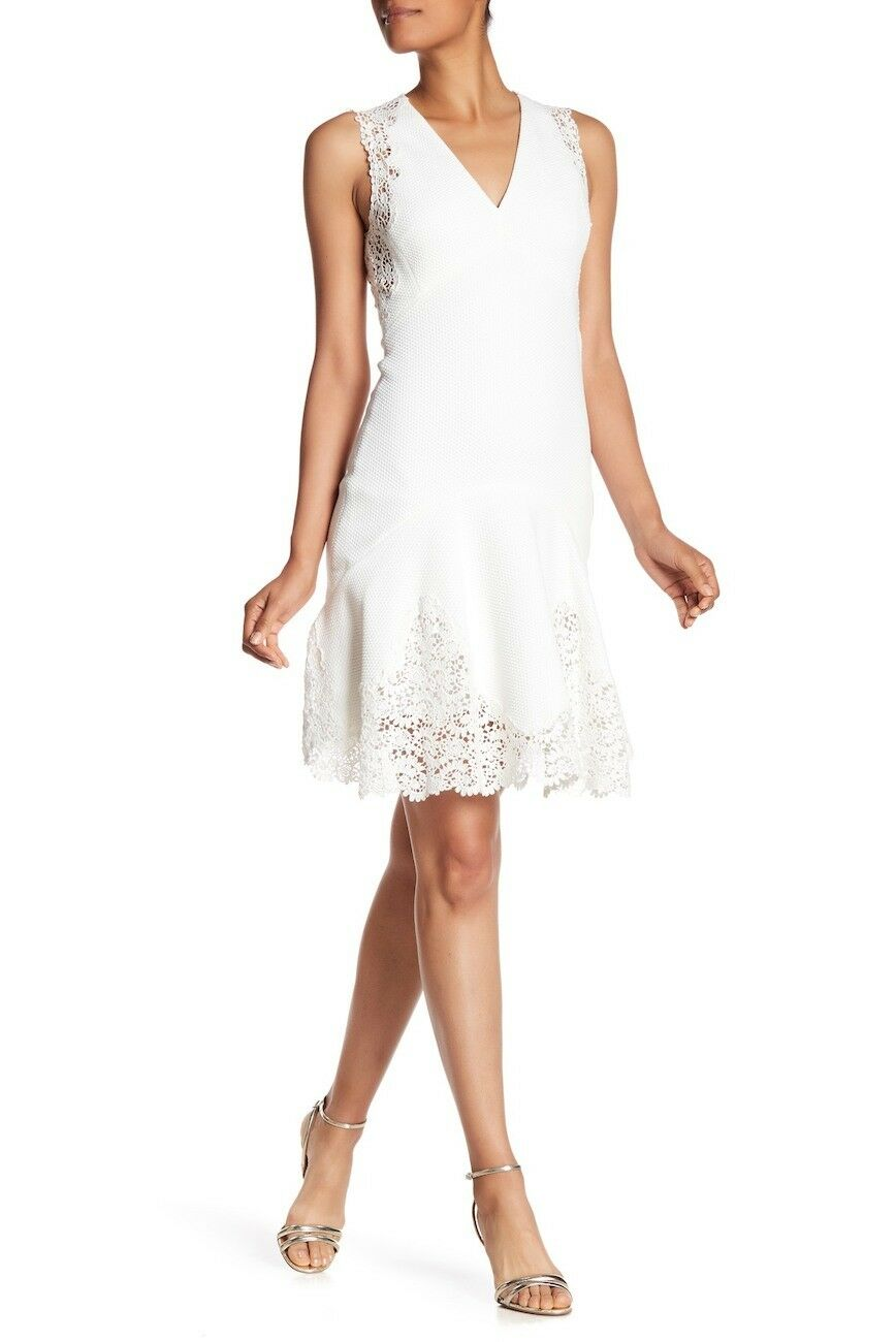 nyA Rebecca Taylor Skift Dress with Lace in vit - Storlek 8