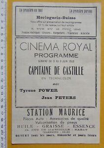 programme-MAROC-RABAT-Cinema-Royal-film-Capitaine-de-Castille-1949
