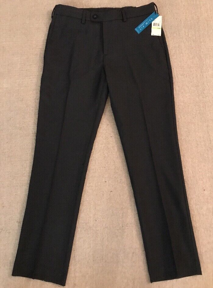 PERRY ELLIS  Men's Navy Polyester 30x30 SLIM Fit Folio Flex Dress Pants   C7