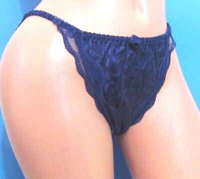 B11 VTG Gold Red Black Blue Satin Swirls string lacy sissy bikini panties S M L