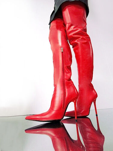 Overknee Couture Sexy Red Cq Custom Støvler Shoes 45 Leather Stiefel w6tFFvqadx
