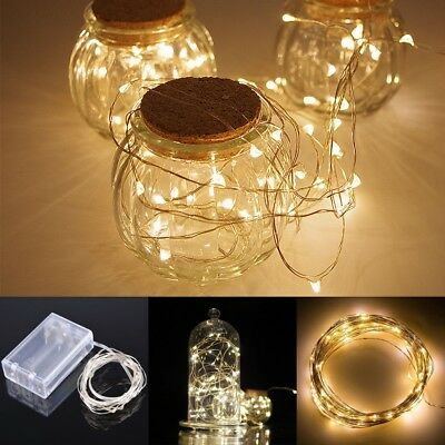 2M 20LEDs Battery Operated Mini LED Copper Wire String Fairy Lights Warm White L