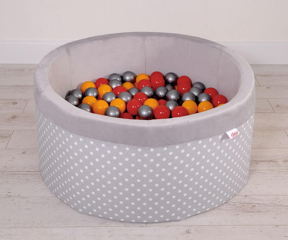 Großes Bällebad Typ Punktmuster grau mit 200 Plastikbällen   4 Farben