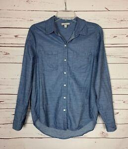 Lucky Brand Women's S Small Blue Striped Long Sleeve Button Spring Top Shirt