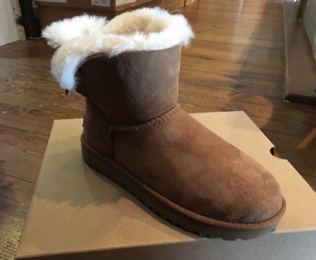 ugg w mini bailey bow ii leather sheepskin chestnut brown 1016501w rh ebay co uk