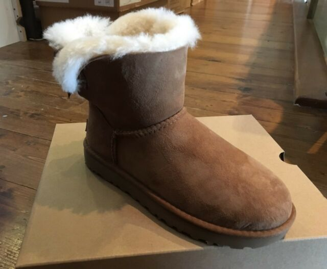 80a1fe4241f UGG W Mini Bailey Bow II Leather Sheepskin Chestnut Brown 1016501w Winter  2018 37