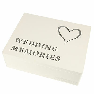 Wooden Heart Wedding Day Memories Keepsake Storage Memory Photo Box Gift Chest