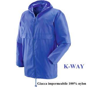 Giacca impermeabile 100% nylon tipo K-WAY, chiusura con cerniera, blu royal