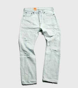 Levis-Trashed-Original-fit-Jeans-Men-White-Washed-Denim-Straight-Leg-Button-Fly