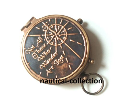 """/""""Not all those who wander are lost/"""" Antique Brass Compass Collectable Gift"""