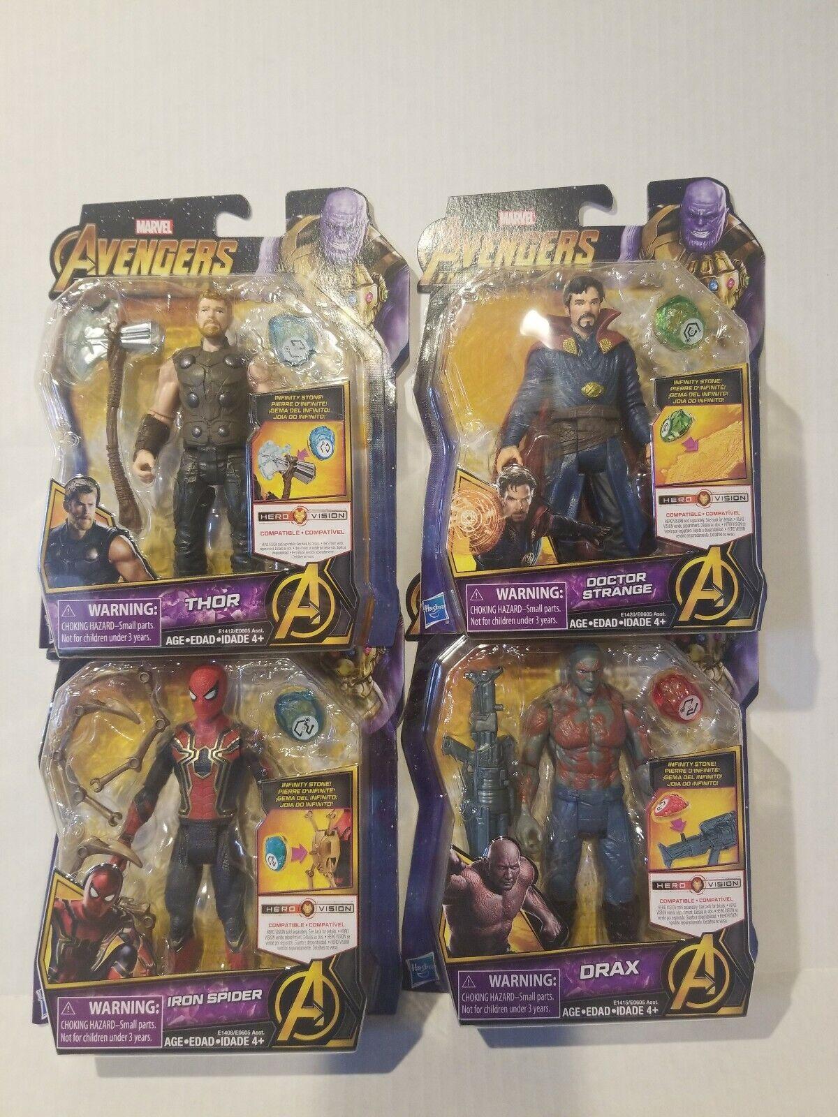 Lot of 4 AVENGERS INFINITY WAR cifras Thor, Captain America, Iron uomo - Hasbro