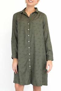 Womens Fat Face Shirt Dress Dragonfly Khaki Green Button Ladies Casual