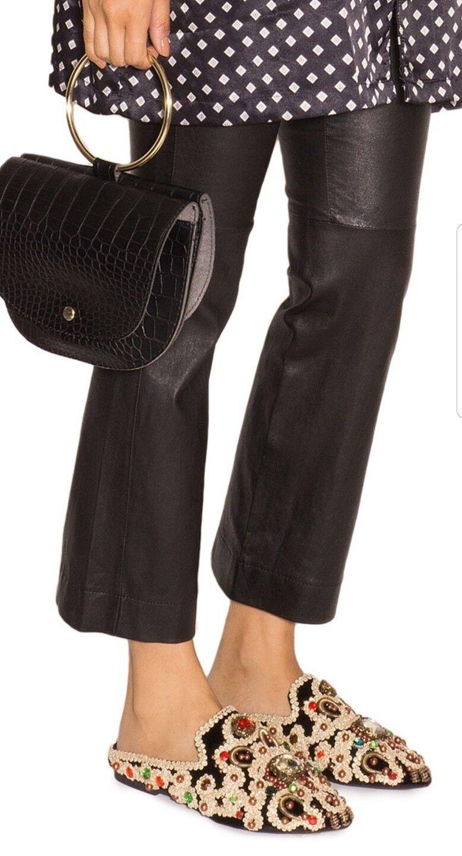 Jeffrey Campbell Sarika Embellished Black gold Babouche Babouche Babouche Mule Slides Size 6 New d9091a