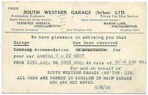 SOUTHAMPTON-1936-SOUTH-WESTERN-GARAGE-to-Ernest-Clew-Stoughton-Surrey-postcard