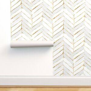 Peel And Stick Removable Wallpaper Chevron White Gold Herringbone Ebay