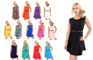 Womens-Ladies-Girls-Sleeveless-Dresses-Flared-Belted-Skater-Dress-Party-Top-Vest