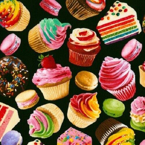 fat quarters 5898 Cup Cakes Tissu cupcakes sur noir Baked Goods 100/% coton