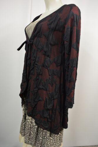 Damen M Kakie a889 Jacke Top Shirtjacke Schwarz Stretch Überwurf bordeaux dFrXxF