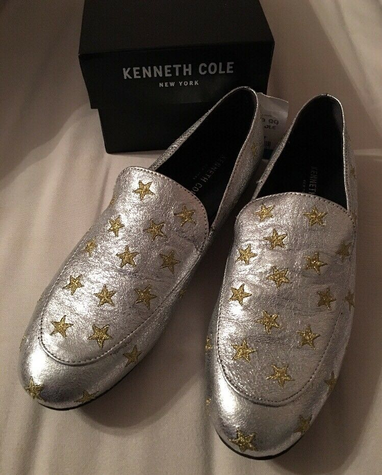 NIB 140 Kenneth Cole Silver Gold Stars Westley 5 Loafer Flats Designer Schuhes 9