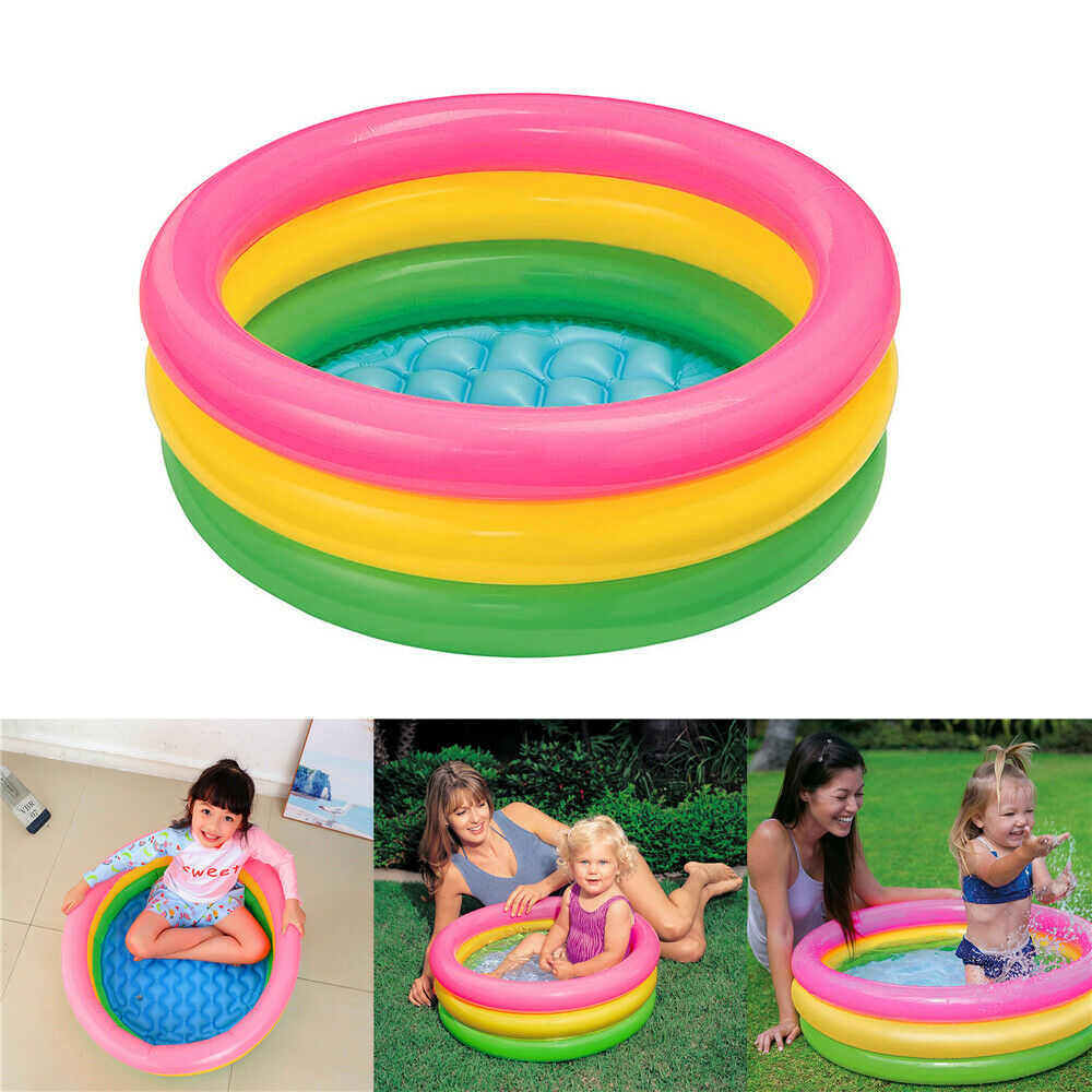 Summer Kids Inflatable Swimming Pool Colorful Ring Water Tub For Family Backyard