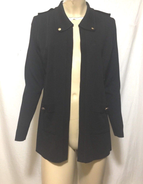 Collar Negro Misook Bolsillos Chaqueta de punto  S  100% precio garantizado