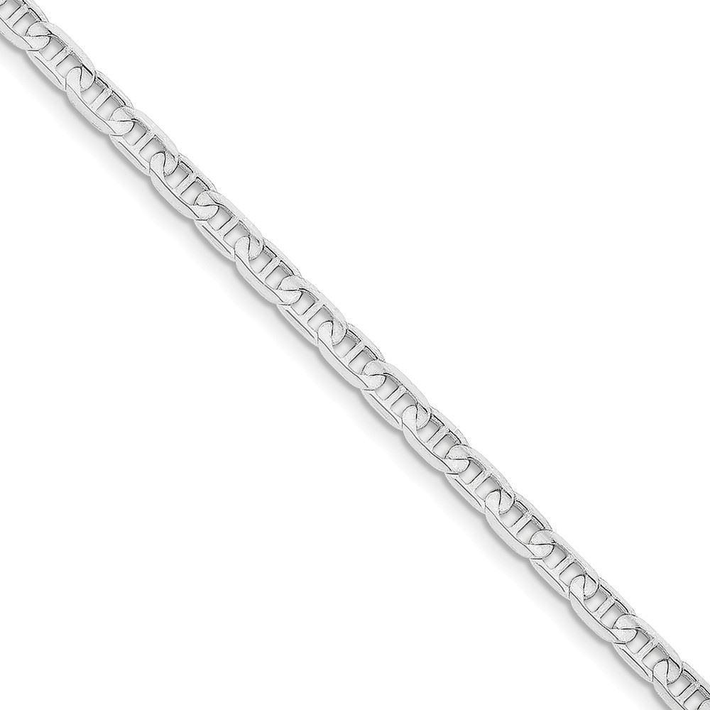 14K White gold 4.40MM Concave Anchor Link Bracelet