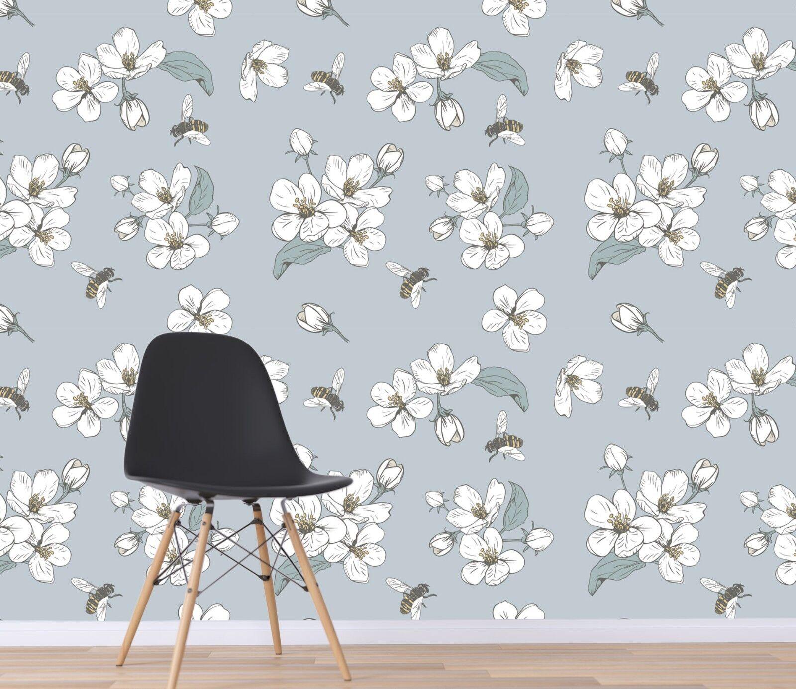 3D Bee Weiß Petals 45 Wall Paper Wall Print Decal Deco Indoor Wall Mural CA