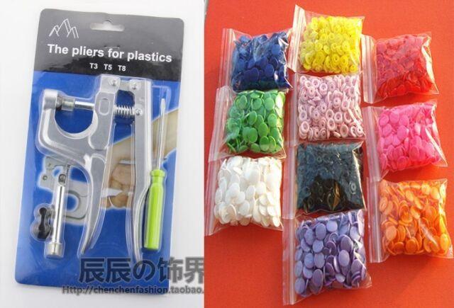 1 Set  Plier Kit + 200 Sets 10 Mixed Color Resin Snaps Buttons For Bib Diaper