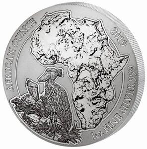 Ruanda Schuhschnabel 2019 1 OZ Unze Ounce Silber Silver Rwanda African Ounce